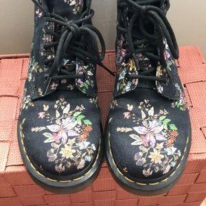 Dr. Martens Shoes - Dr. Martens Black Flower Print Canvas Boot